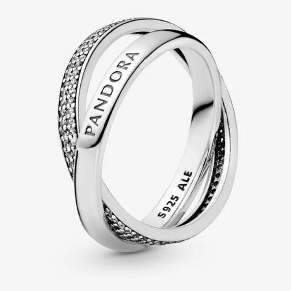 Intertwined Pandora Logo and Pavé Ring